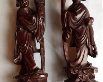 2 Wooden Oriental 6 Inch Carvings