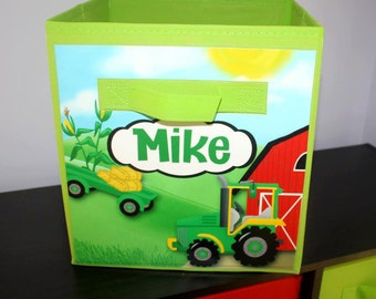 Green Tractor Farm Animal Barnyard FABRIC BIN Boy's Personalized Bedroom Nursery Organizer for Toys or Clothing FB0050