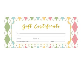 Argyle, Gift Certificate, Gift, Printable, Premade, customer appreciation, Last Minute Gift, Blank