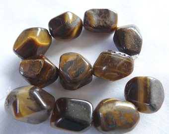 """6 1/4"""" Strand Natural Tigereye Faceted Nugget Stone Beads 11.75 to 16mm Long A806"""