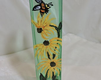 Brown Eyed Susan Handpainted Up Cycled Green Glass Floral Vase