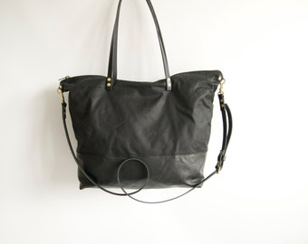 Waxed Canvas and leather diaper bag - SKYE - Large Black CANVAS top and LEATHER base carry all Zip Tote Everyday Market Bag