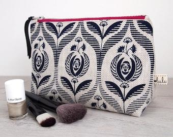 Large makeup bag with Art Deco print/ navy cosmetic bag