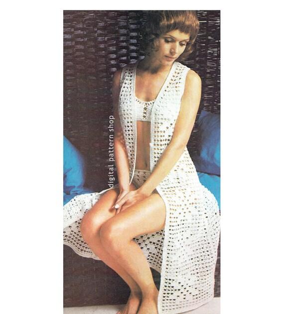 Crochet Bikini Pattern Long Jacket Crochet Pattern Womens Filet