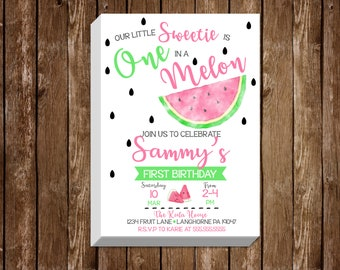 First Birthday One in a Melon 5x7 Invite