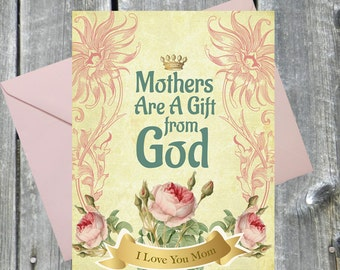 Mothers Are A Gift From God - 5x7 Greeting Card, Christian Art Work, Inspirational Art, Religious Art, Christian Gift, Custom Christian Art.