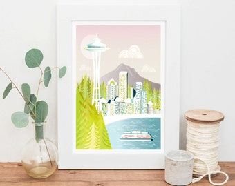 Seattle Print Skyline Space Needle, Wall Art Paper Print, Cityscape illustration, Home Decor, Nursery, Retro Vintage, yellow green, SPPS1