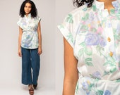 Hippie Boho Blouse 70s Floral Shirt 1970s Bohemian BELTED Button Up White Toggle Button Purple Vintage 80s Cap Sleeve Shirt Medium