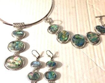 3 pc Vintage ABOLONE Set NECKLACE  Bracelet EARRINGS Demi Parure Chunky Bracelet Choker Big Chunky Earrings Jewelry Set