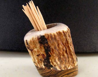 Nice Elk Antler Toothpick Holder, Match Stick Holder, Bocote Wood Base, TP-19