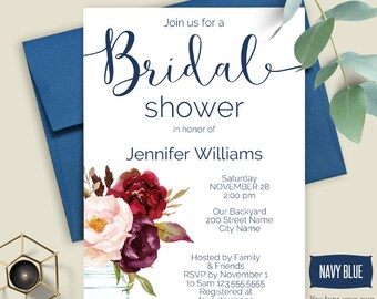 Bridal shower invitation, Printable Navy blue and flowers template, Instant download Self Editable PDF A5114