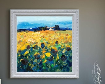 Sunflowers Painting Original Art Oil Painting Thickly Layered Impasto Tuscan Country Landscape Painting Agostino Veroni Christmas Gifts