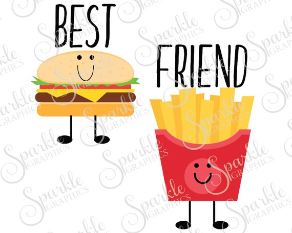 best friend cut file french fry cheeseburger bestie best rh etsy com bff clipart free baby clipart black and white
