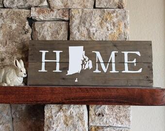 Rhode Island HOME, Reclaimed Wood Sign, RI Sign, Rhode Island Art, Rhode Island Map, RI Art, Rhode Island Gift, Housewarming Gift, Wall Art