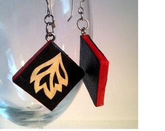 Black Diamond Hanji Paper Earrings Dangle Leaf Design Black Red White Hypoallergenic hooks Lightweight Ear rings