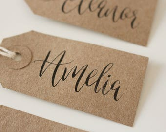 Modern Calligraphy Name Tags Set of 5x Rustic Kraft Brown Tags Personalised Wedding Names Hand Lettered Tags Black Ink