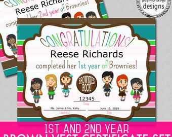 1st & 2nd Year Certificates - Brown Vest, Brownie Style, Instant Download