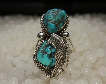 Sterling Silver 2 Stone Bisbee Turquoise Ring