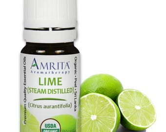 Lime Essential Oil, Distilled (Citrus aurantifolia) -  USDA Certified Organic - Pure & Therapeutic Quality