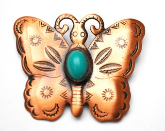 Copper Butterfly brooch- Signed Solid Copper -Turquoise cabochon - Insect figurine  pin