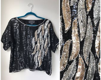 Silver and gold vintage sequin party top