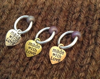 Made With Love Set of 3 Knitting Stitch Markers with container