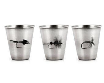 Stainless Steel Shot Glasses - Fly fishing Flies - Set of Three or Pick One