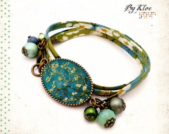 Ornate floral bracelet • almond blossoms Cabochon blue Van Gogh Painting • green beige