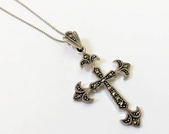 Vintage Sterling Silver Cross - Marcasite Cross Crucifix Pendant Necklace - 925 - Includes Chain