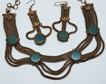 Art Deco Egyptian Revival Copper Multi Snake Chain Turquoise Necklace Earrings