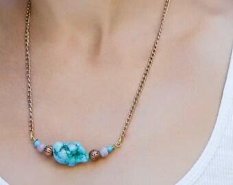 Boho short necklace with turquoise gemstone. Turquoise necklace. Chain necklace.Summer necklace.