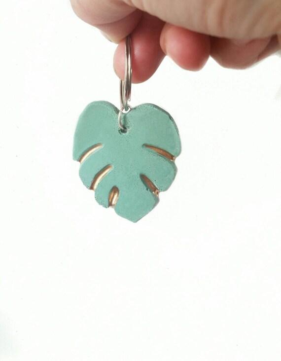 Monstera Key Chain/Monstera leaf/House Plant/Concrete decor/plant lover/tropical plants/key chain/Monstera/plant killer/black thumb