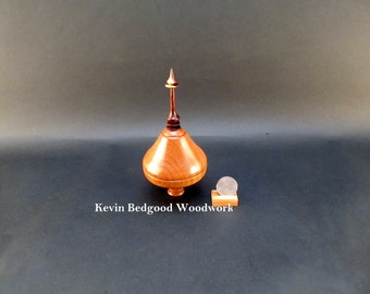 Box Lidded Container turned wood.  Pink Flame wod and Kingwood Rosewood Jewelry