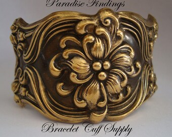 Victorian Floral Bracelet Cuff Jewelry Supply, Rings Added To Each Side For a Professional Jewelry Supply, Just Add a Chain, USA Brass Ox