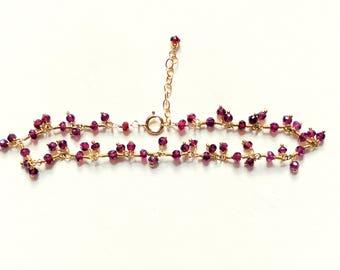 Garnet ruffle bracelet