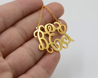 Monogram necklace gold-initials necklace-monogrammed gift-custom jewelry-Mother's day gift for women,Mom