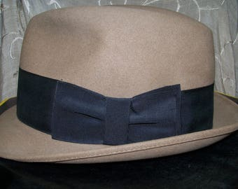 Fedora with black band.  IN BOX!