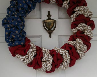 Stars and stripes flag, American flag wreath, Red white and blue wreath, Patriotic wreatb