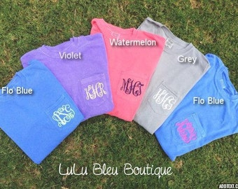 Monogram Shirt, Monogram Shirt Pocket, Comfort Colors, Monogram Shirt for Women, Monogram Pocket Tee, Personalized Gift, Monogrammed Gift