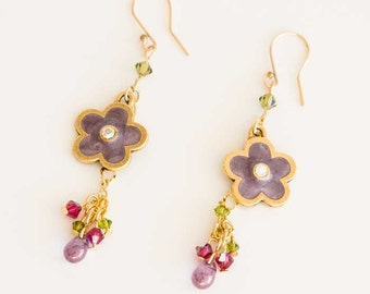 14k Gold Filled Dangling Earrings with Swarovski Crystals in RubyRed and Peridot Green and Daisy Brass Charm in Lavender. Spring Colors S238