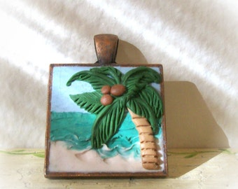 "Palm Tree on an Aqua Beach Pendant, 1"" Copper Bezel, 3D Hand Sculpted Relief Necklace with 24 inch Ball Chain"