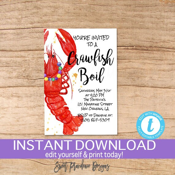 Crawfish Boil Invitation Any Occassion Crawfish Boil invite