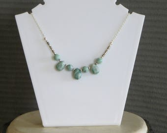 green stone teardrop and silver bead necklace
