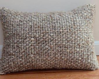 Wool Basketweave Textured Knit Lumbar Pillow in Camel
