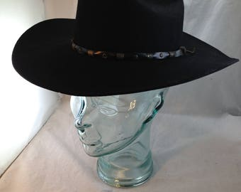 Vintage Black Bailey Cowboy Hat Style Roswell 100% Wool Size 7     01569