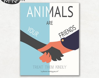 ANIMALS Are Your FRIENDS, Vintage 1930's WPA Poster Reproduction, Children's Poster