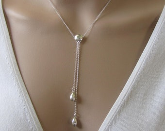 Long TeardropDrop Y Necklace, Sterling Silver Y Necklace, Lariat Necklace, Jewelry, Gift for Her