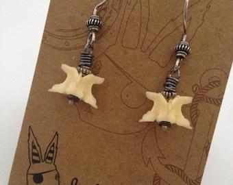 Vertebrae Bone Earrings, Sterling Silver