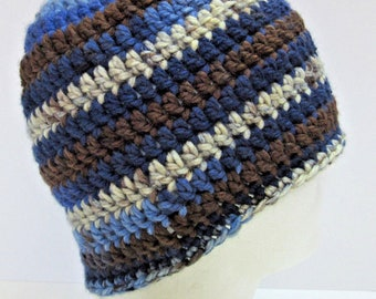 Mans Black and Blue Big Hat Striped Large Cap Crochet Knit Mans or Womans Brown Chunky Oversize Dreadlocks Slouchy Lots of Hair Cover