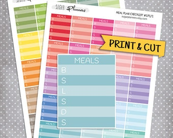 Meal planning stickers, Printable Planner Stickers Erin Condren Full Box Printable Stickers Meal Plan Stickers Dinner Stickers Diet stickers